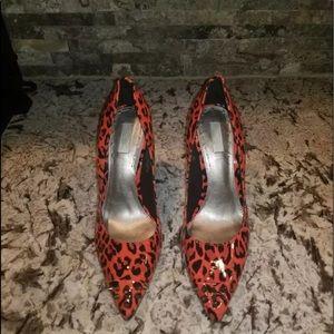 Rachel Roy Mylan myang red orange studded heels 7